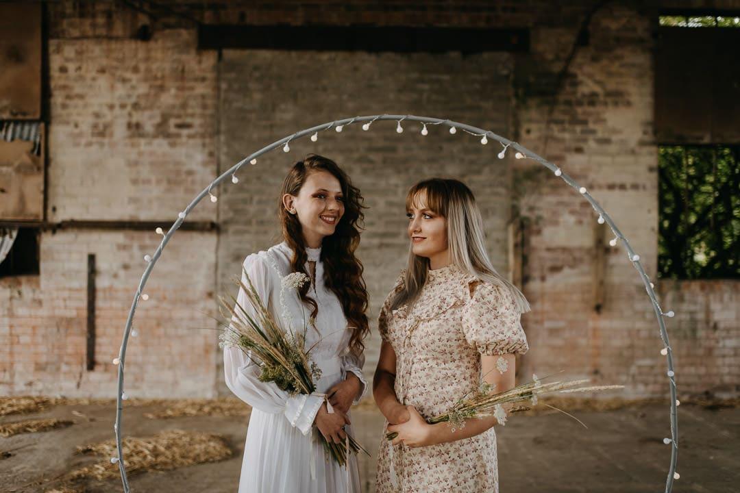 Vintage boho elopement inspiration - bride and bridesmaid