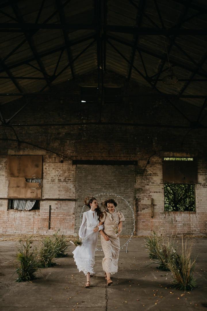Vintage boho elopement inspiration - Scottish warehouse