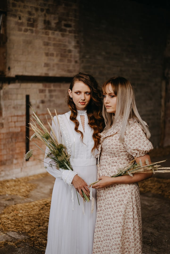 Vintage boho elopement inspiration, Scotland - bride and bridesmaid