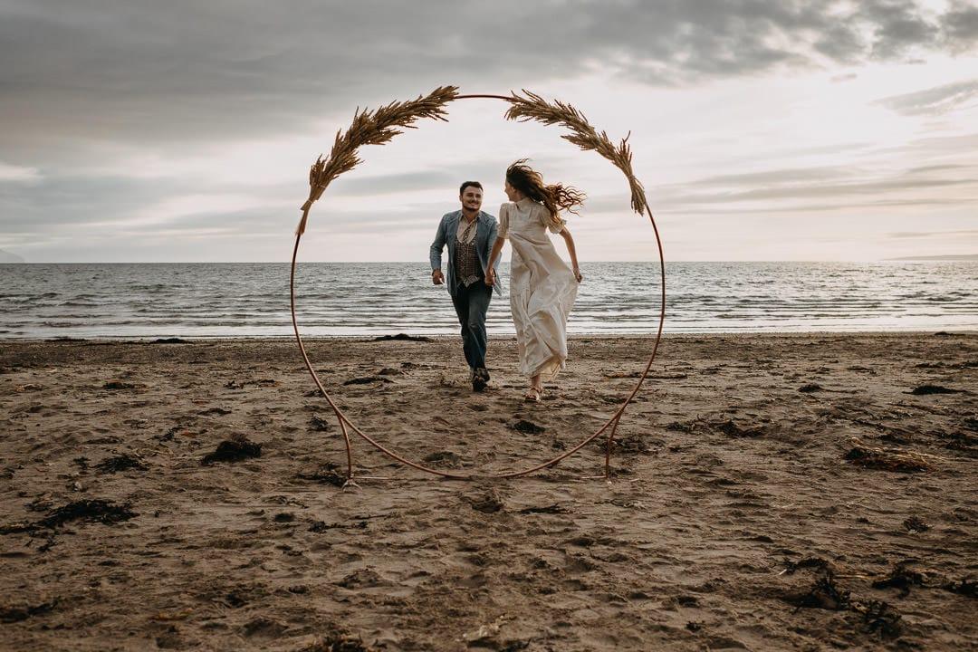 Vintage boho elopement on a Scottish beach