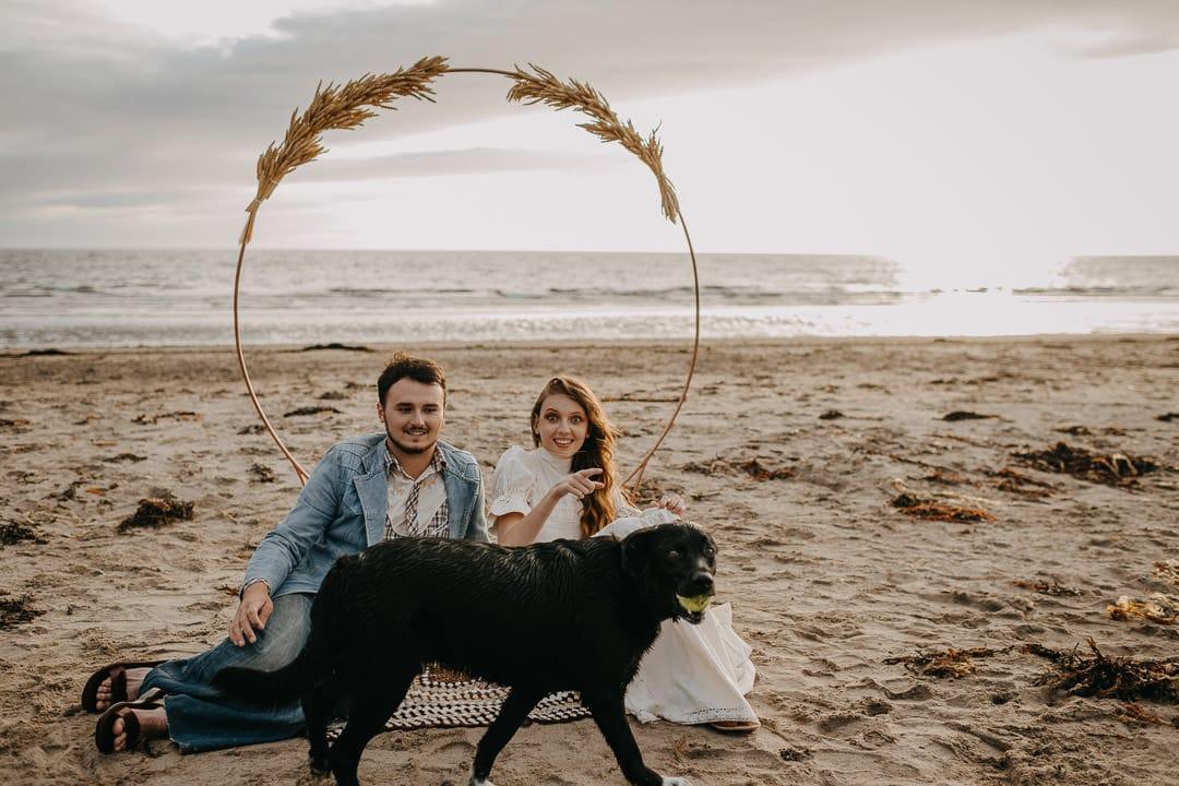 Scottish beach elopement - vintage boho style - photobombed by a dog
