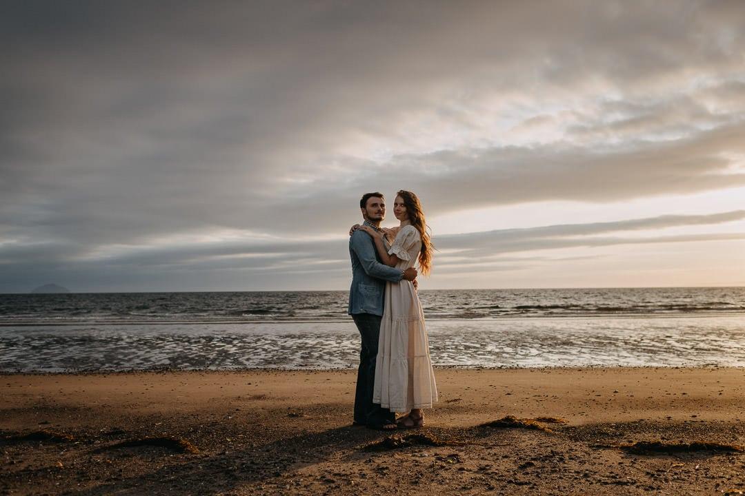 Beach boho elopement, Scotland couple