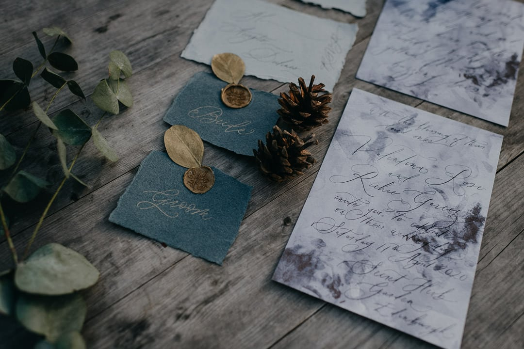 Nature-inspired stationery for Scottish elopement