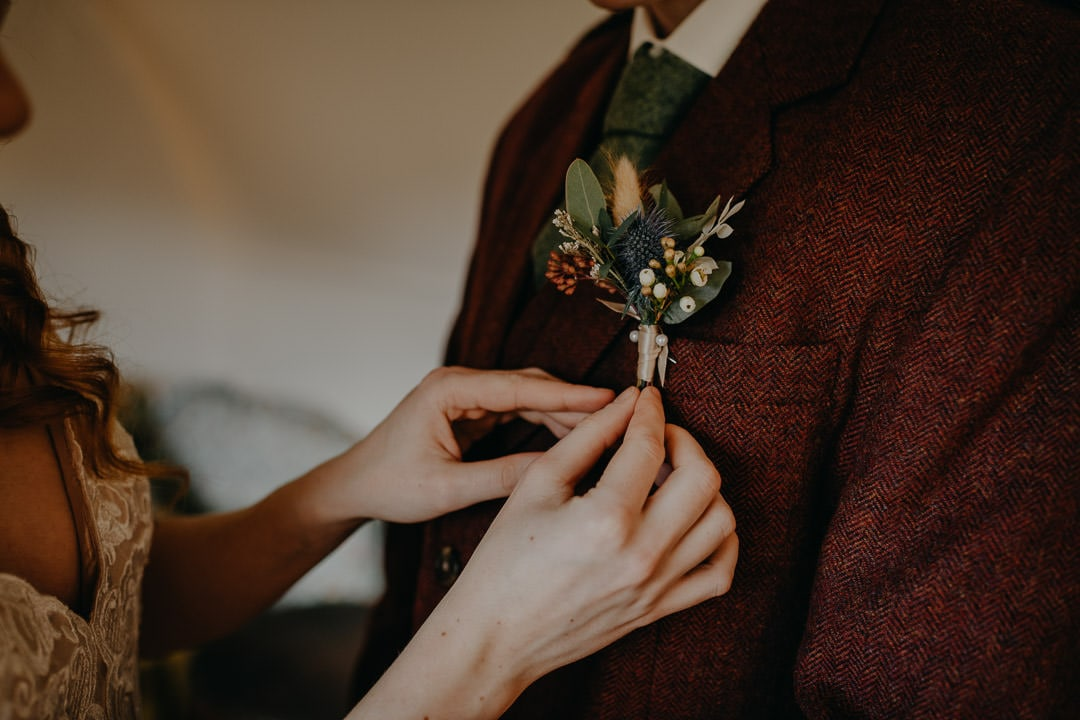Grooms buttonhole - wild Scottish florals