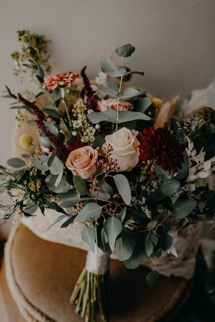 Elopement bridal bouquet - wild bohemian florals
