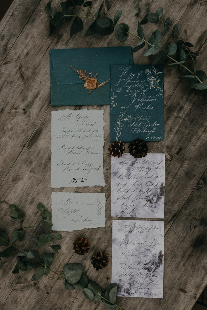 Bohemian stationery for intimate Scottish wedding
