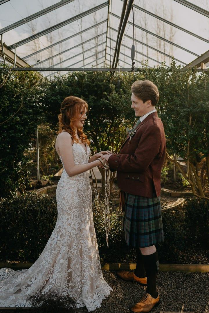 Handfasting ceremony at the Secret Herb Garden, Scotland