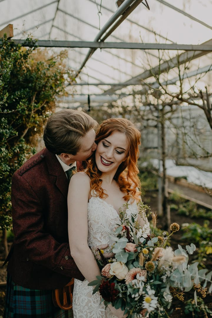 Elopement couples at greenhouse Scottish wedding venue, Secret Herb Garden