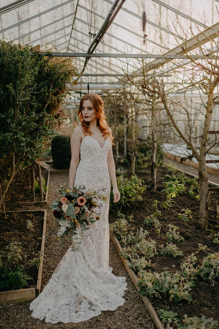 Bohemian Celtic red-haired bride - Scottish elopement in greenhouse