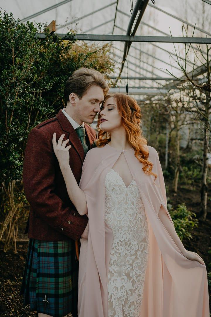 Bohemian Celtic couple - Scottish elopement in greenhouse
