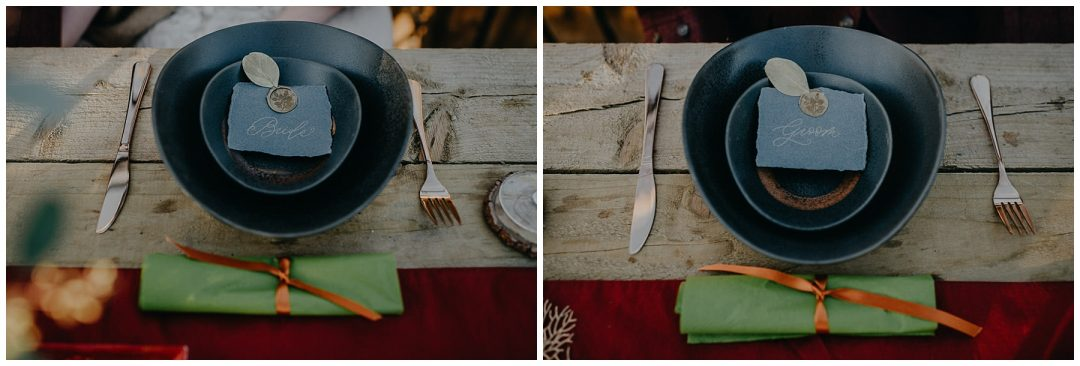 Bride Groom dinner and stationery layout - bohemian nature themed