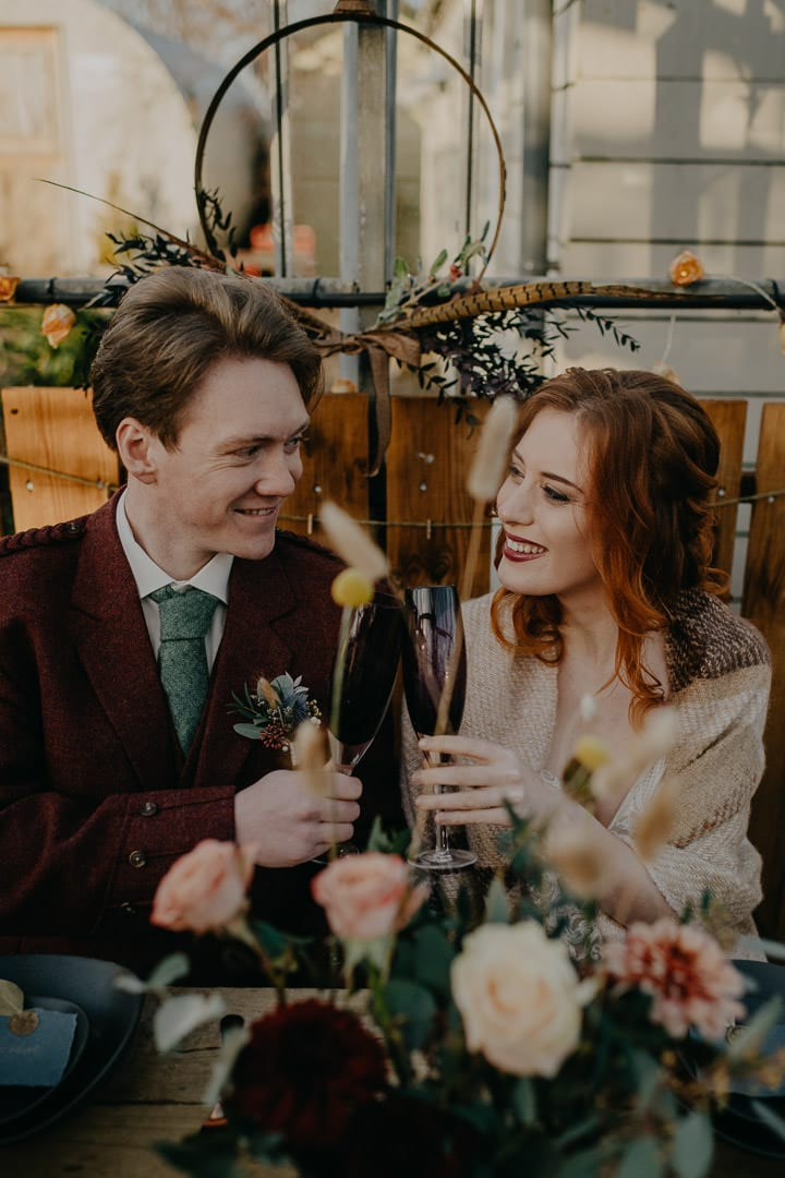 Reception drinks at the Secret Herb Garden for an intimate wedding - bohemian styling
