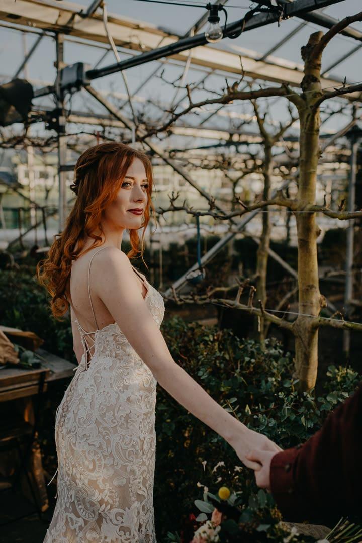 Red-haired bride at the Secret Herb Garden, Edinburgh