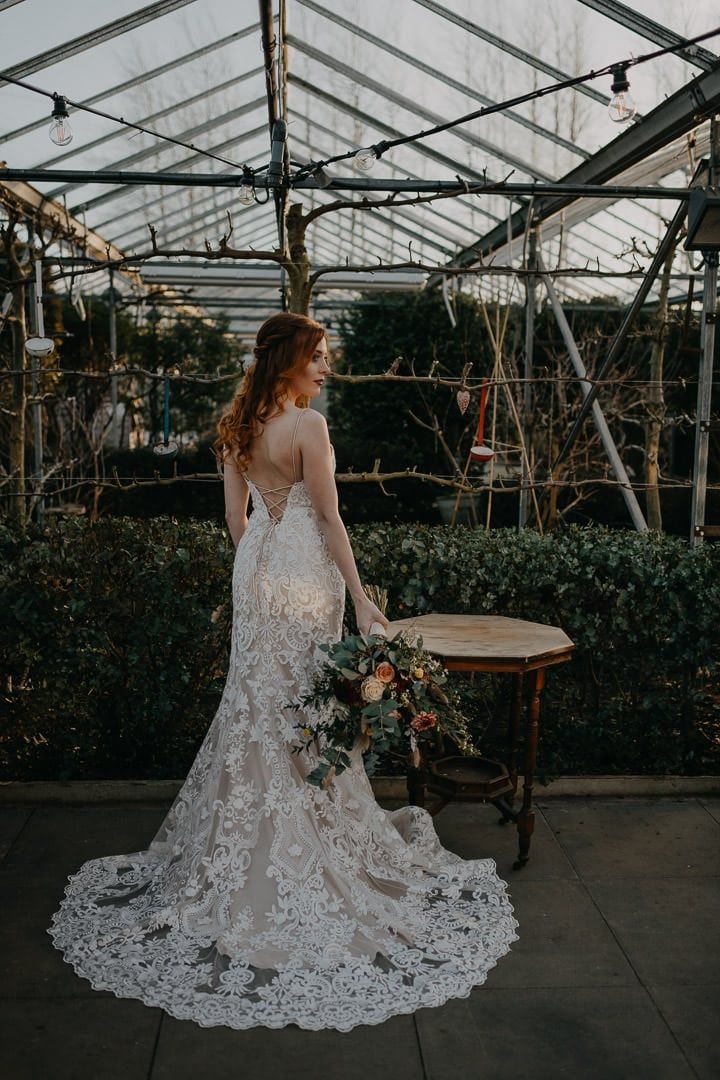 Scottish greenhouse elopement bride bohemian style at the Secret Herb Garden