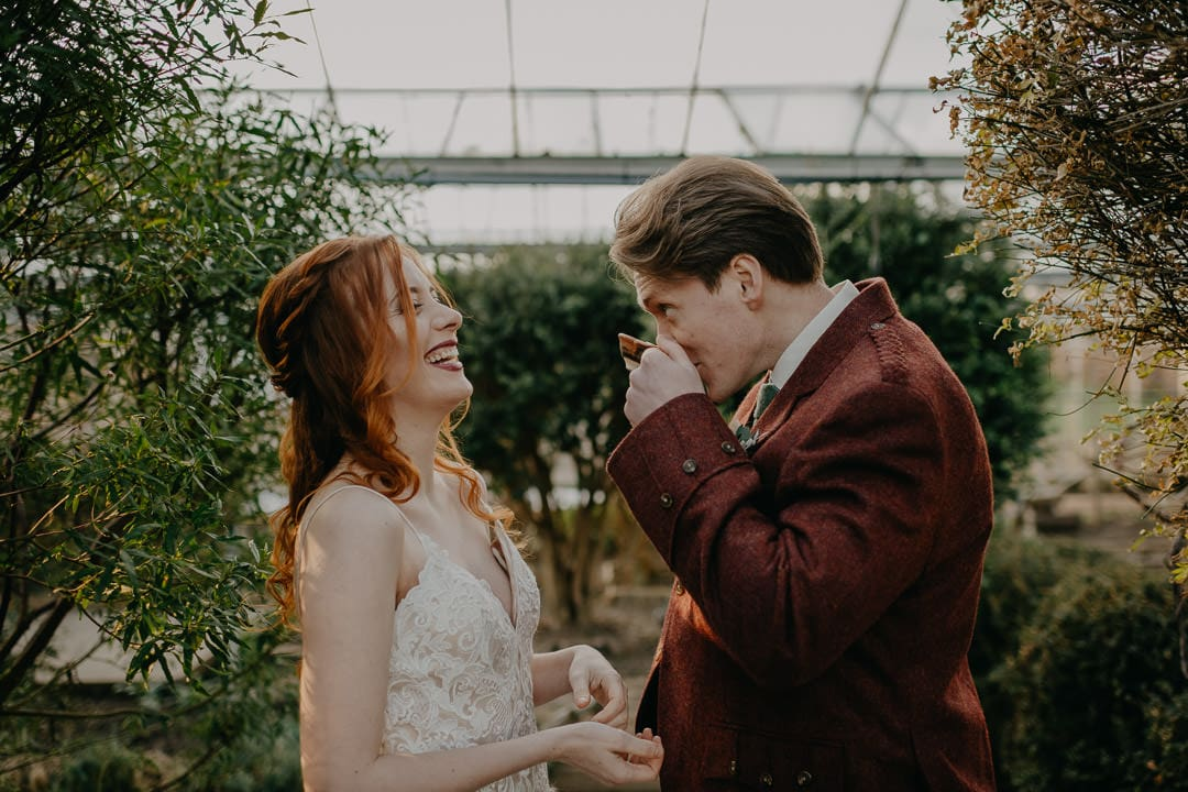 Quaich ceremony in a greenhouse elopement, Scottish celtic traditions