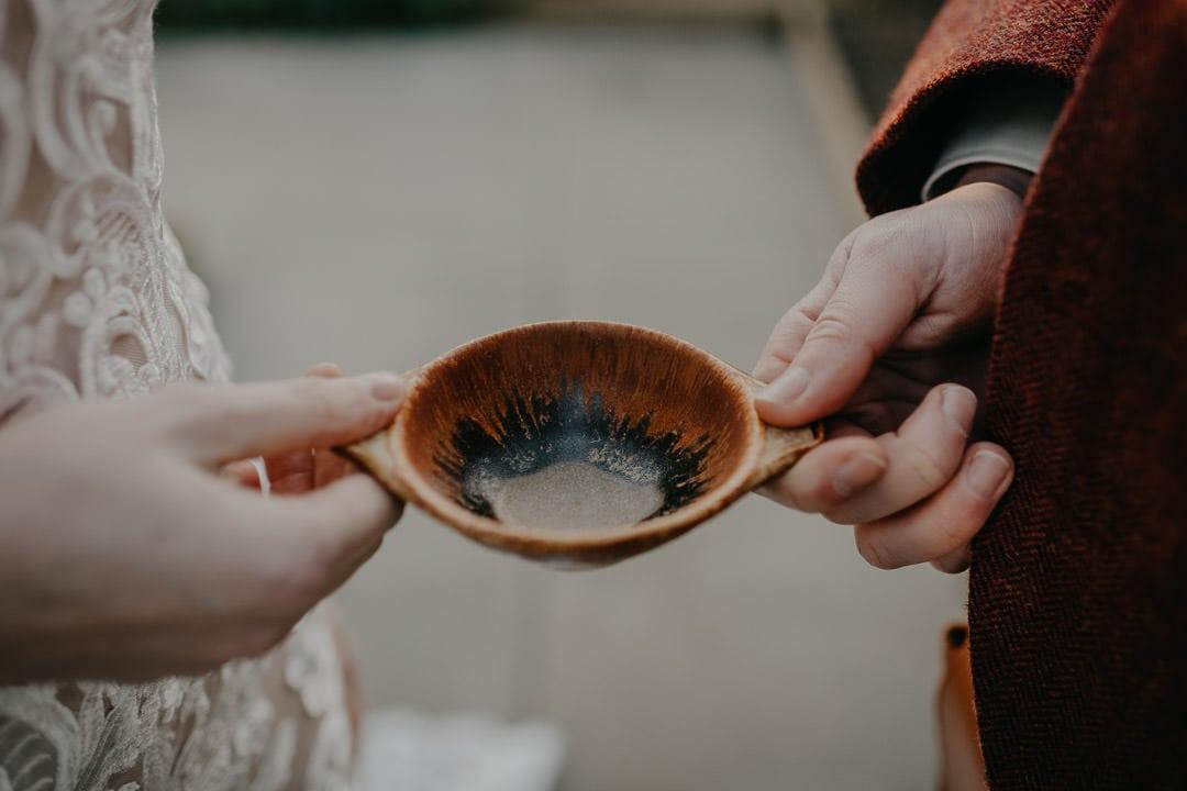 Quaich ceremony in a greenhouse, Scottish celtic traditions