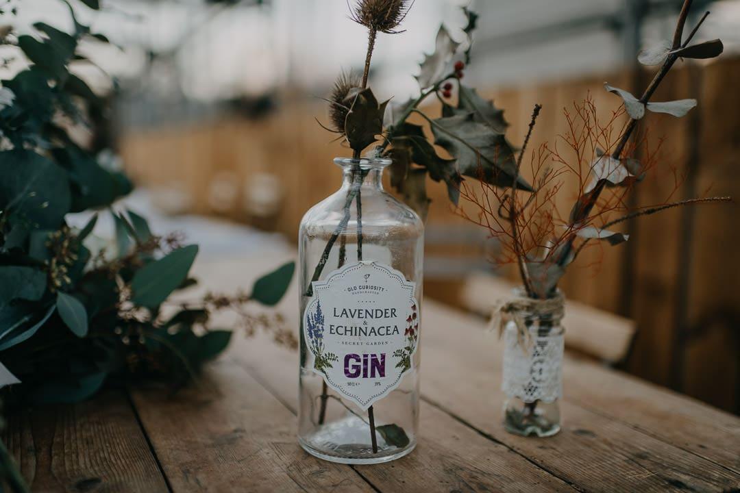 Cute table styling details - gin bottles - Secret Herb Garden
