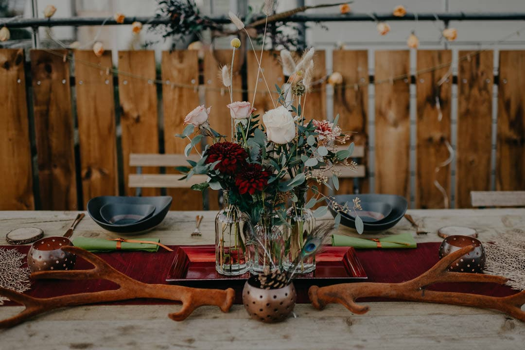 Table styling for nature-inspired celtic elopement in Scotland