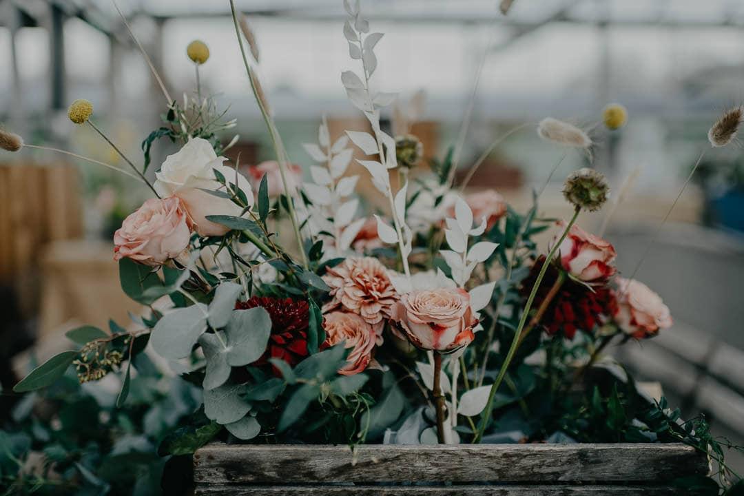Beautiful wild flower arrangement for Scottish nature-inspired wedding