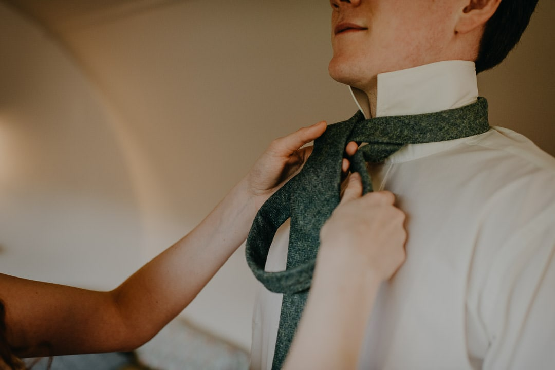 Elopement - getting ready together in Scottish elopement