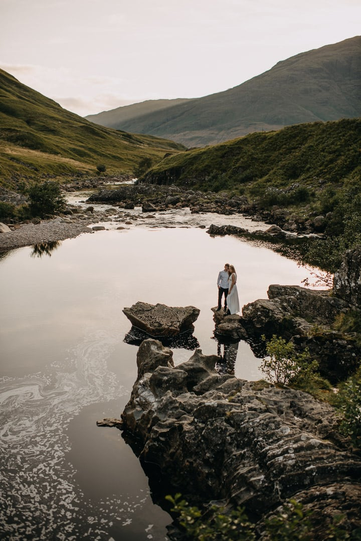 Dramatic photo of wedding couple in Glen Etive elopement