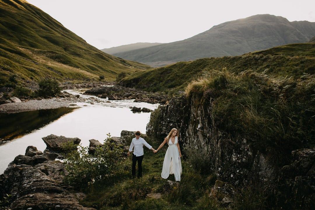 Hiking through the Trossachs - elopement bohemian couple