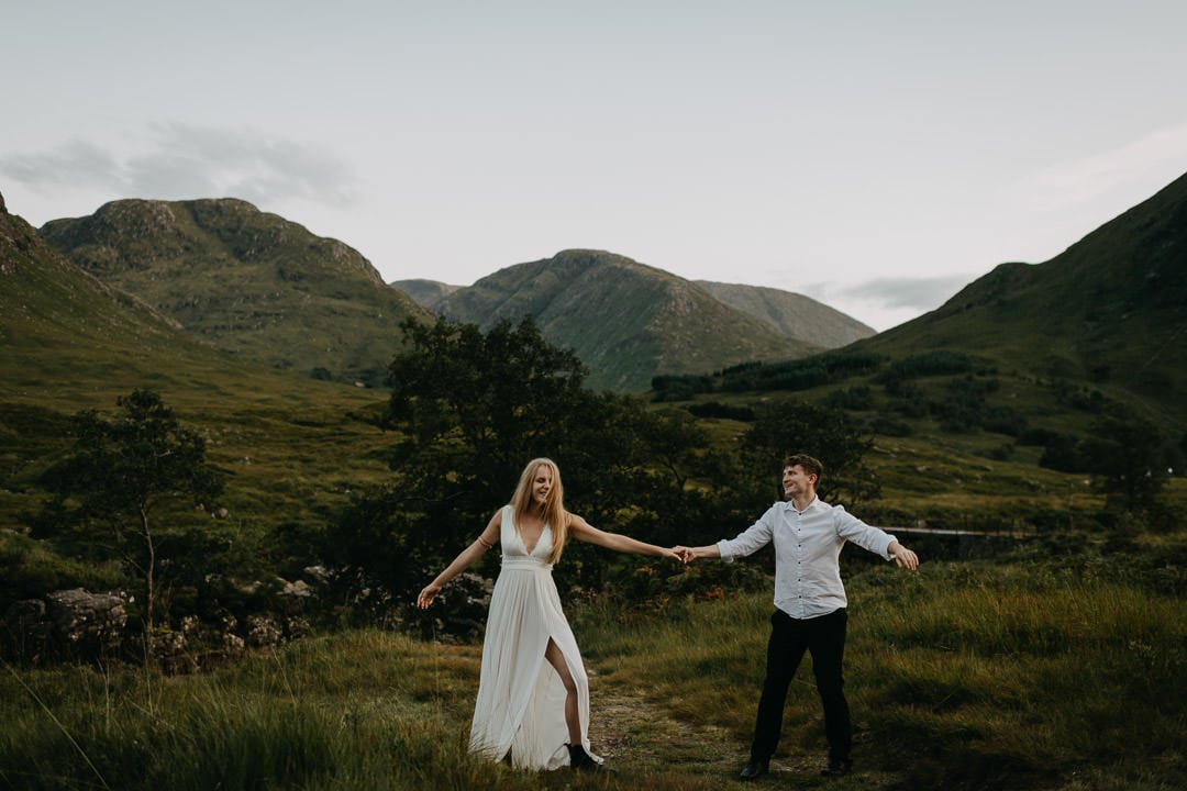 Scottish Highlands elopement couple dancing in Glen Etive