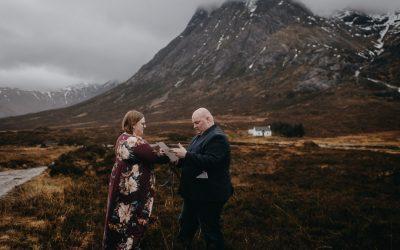 Adventurous (and wet!) wedding anniversary handfasting in Glencoe