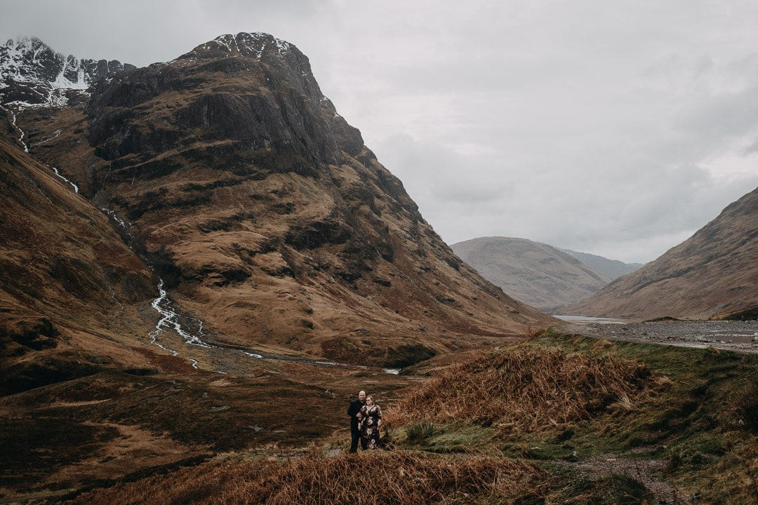 Glencoe viewpoint on romantic Scottish Highlands adventure session