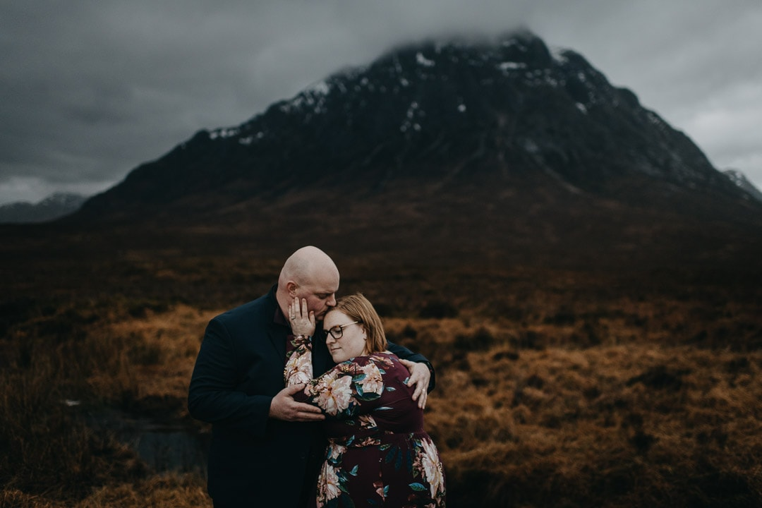 Exploring the moors of Etive Mhor on a Scottish Highlands adventure session for couples