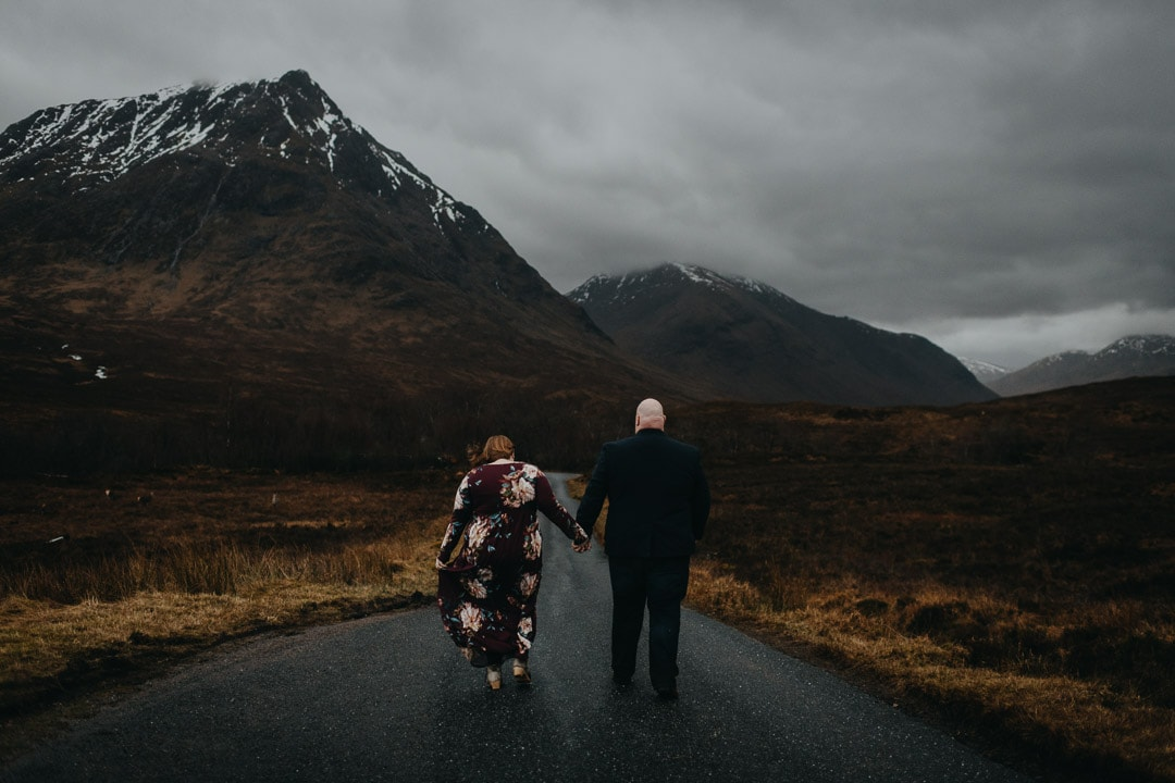 holding hands on the roads to Glen Etive, backdrop to Skyfall