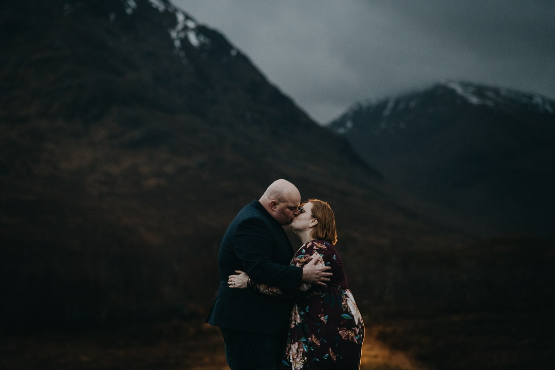 Dramatic and romantic Glen Etive adventure session for couples visiting Scotland