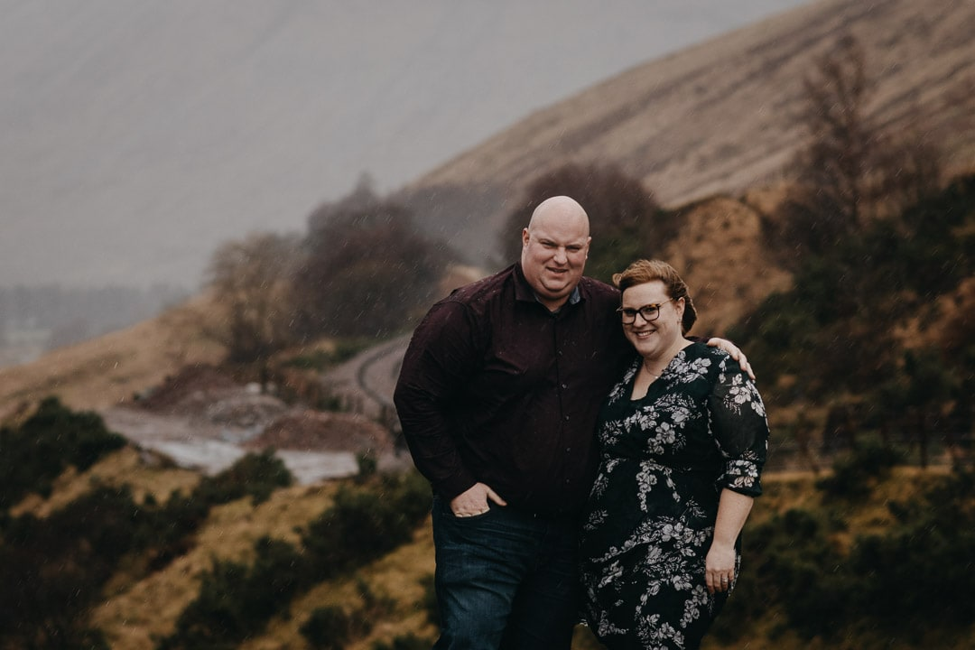 Romantic rainy couples adventure session in the Scottish Highlands
