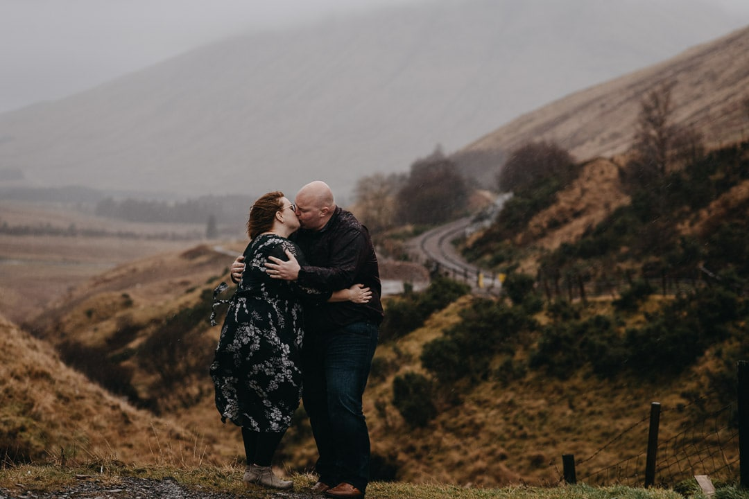 Romantic wet couples adventure session in the Scottish Highlands