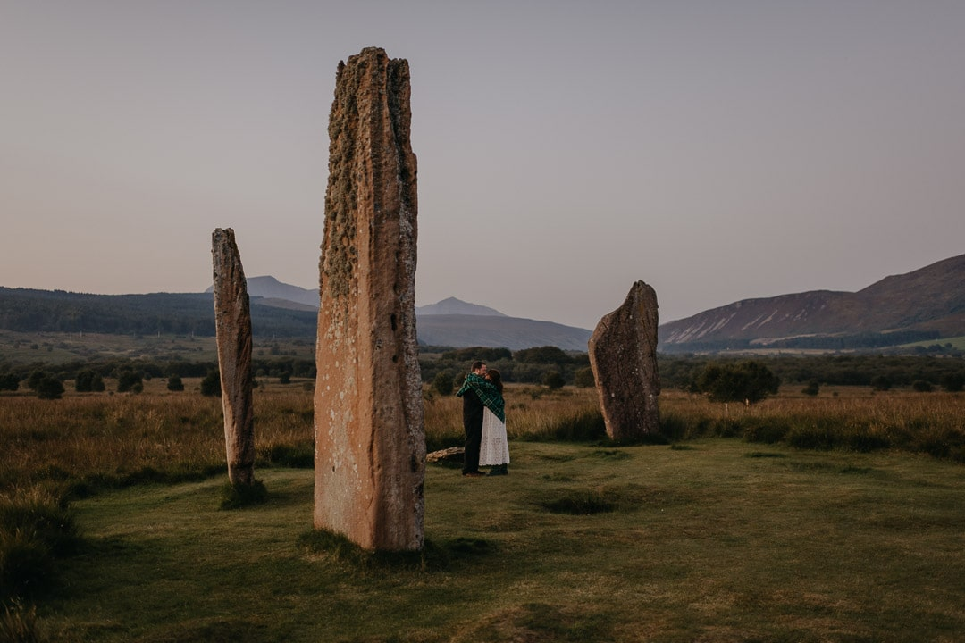 Scotland elopement couple at Machrie Moor on Isle of Arran