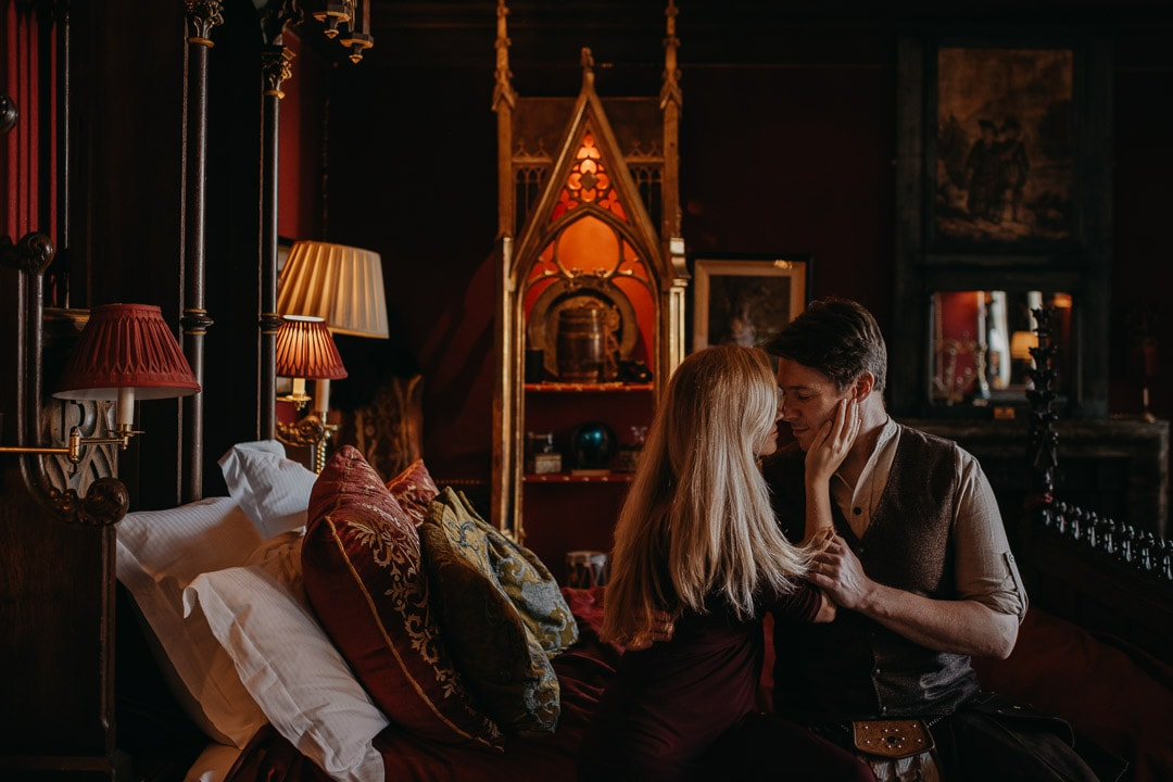 Romantic proposal location at The Witchery Edinburgh - opulent hotel suites