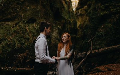 Adventurous rock'n'roll elopement in the Devil's Pulpit, Scotland