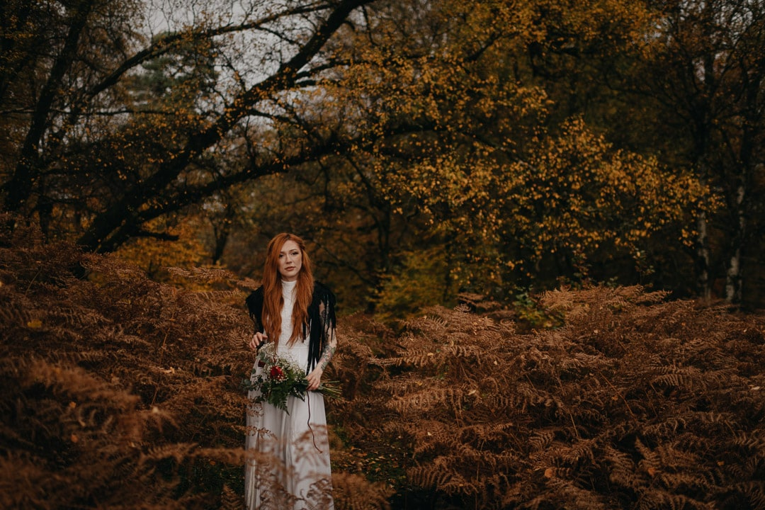red haired bride in scottish autumn elopement