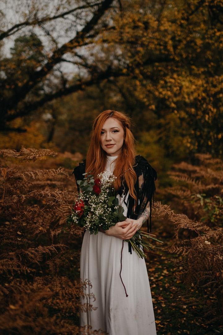 redhead bride in scottish autumn elopement
