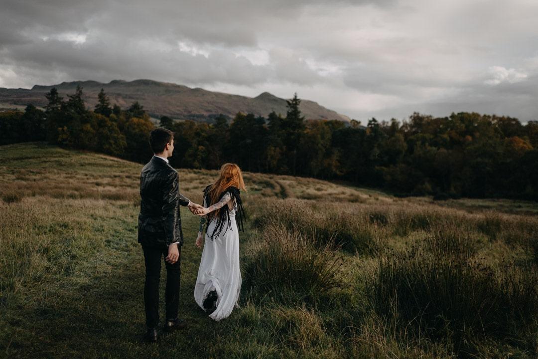 Rock n roll tattooed bride in adventurous Scotland elopement