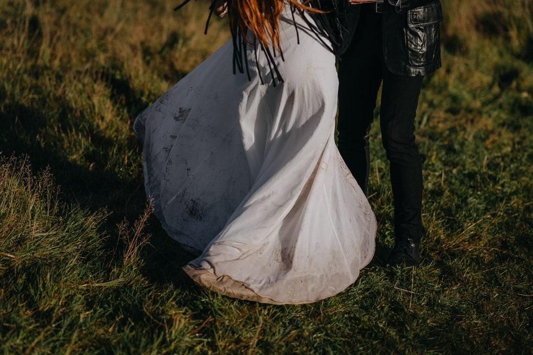muddy elopement dress in Scotland