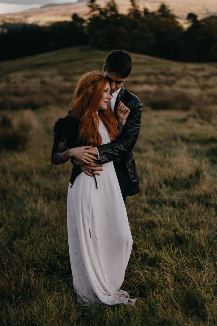 alternative elopement styled couple in Scotland