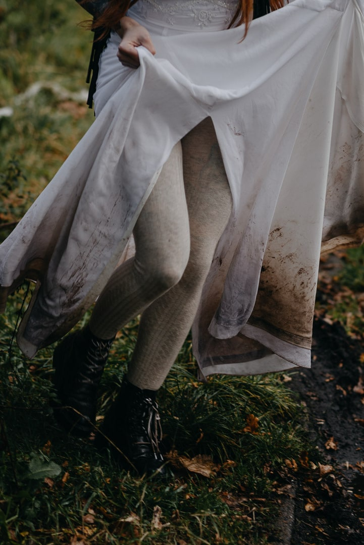 muddy dress in Scotland elopement