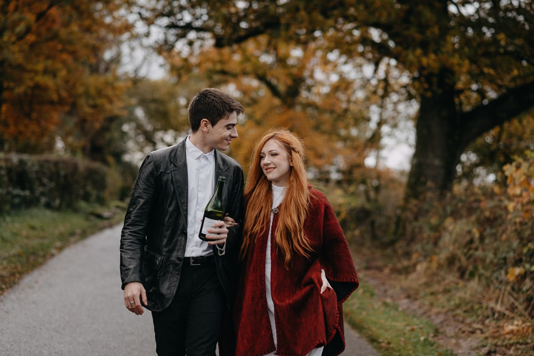champagne popping during elopement in Scotland