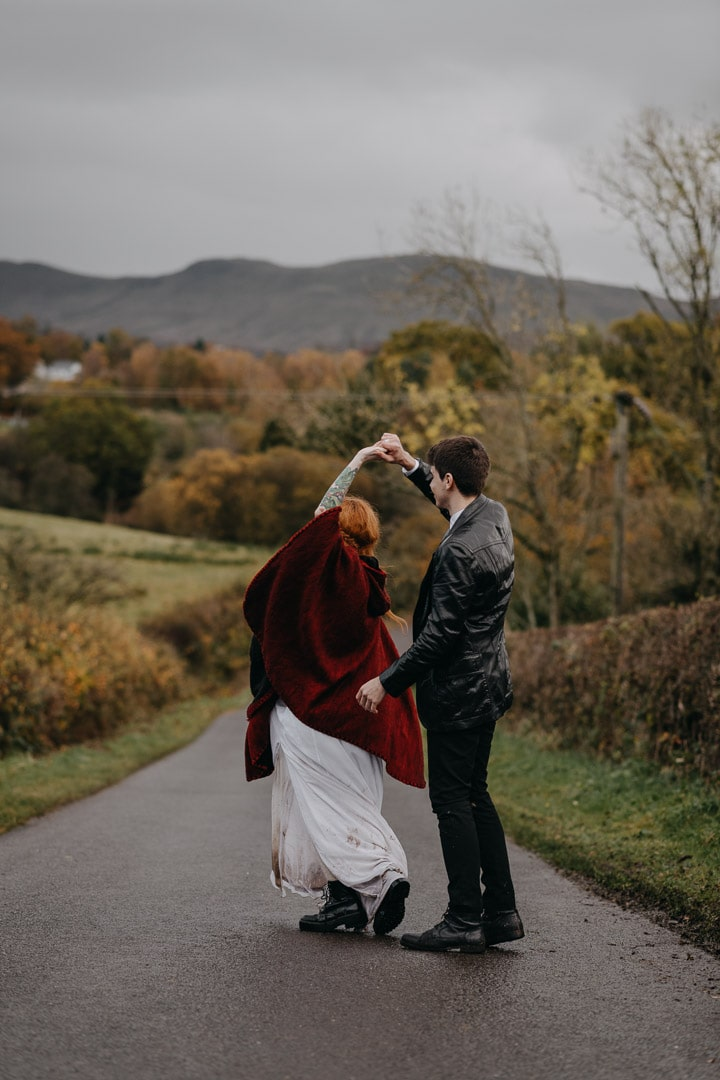 First dance outdoors in Scottish elopement in Autumn