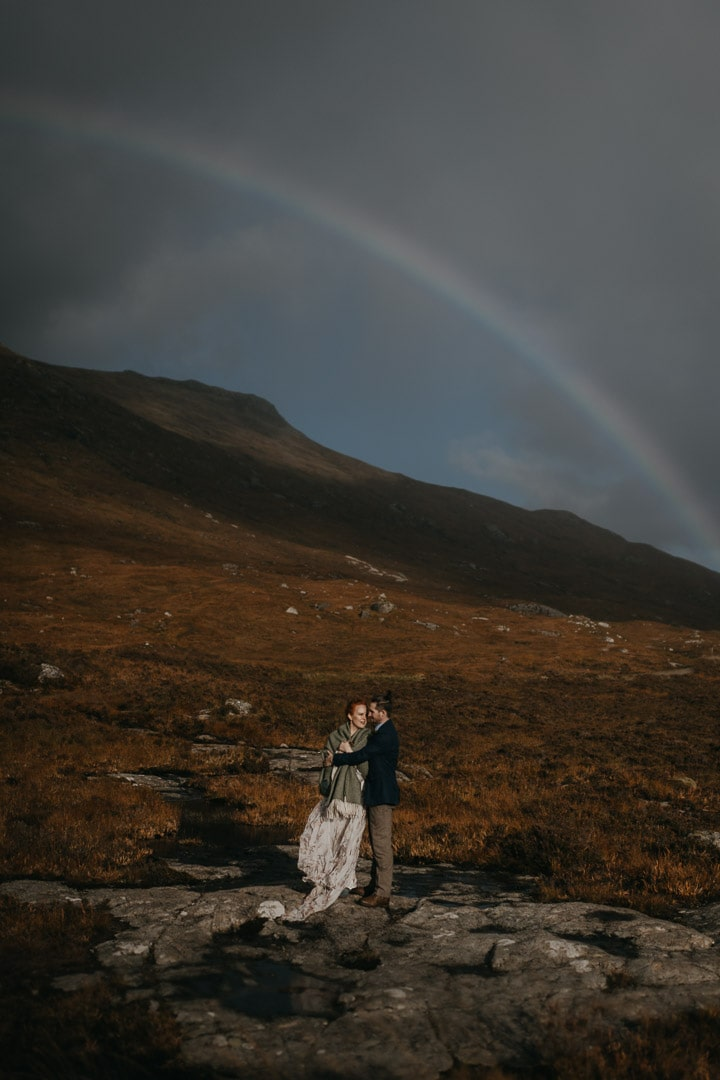 Glencoe elopement rainbow in Autumn