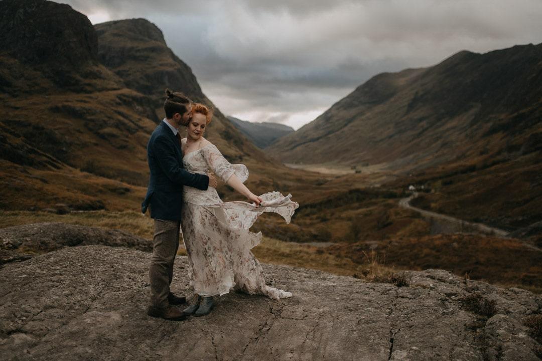 Rue de Seine elopement dress - Glencoe, Scotland