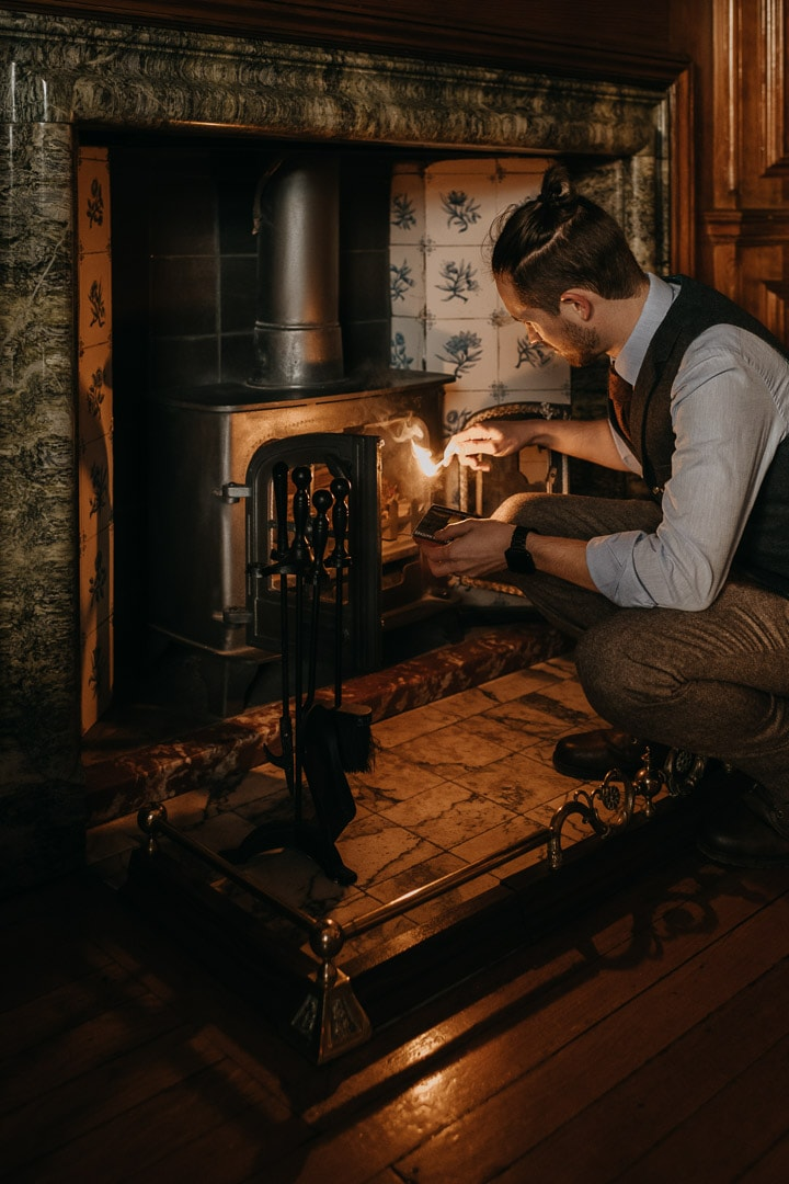 Glencoe house elopement - lighting fire