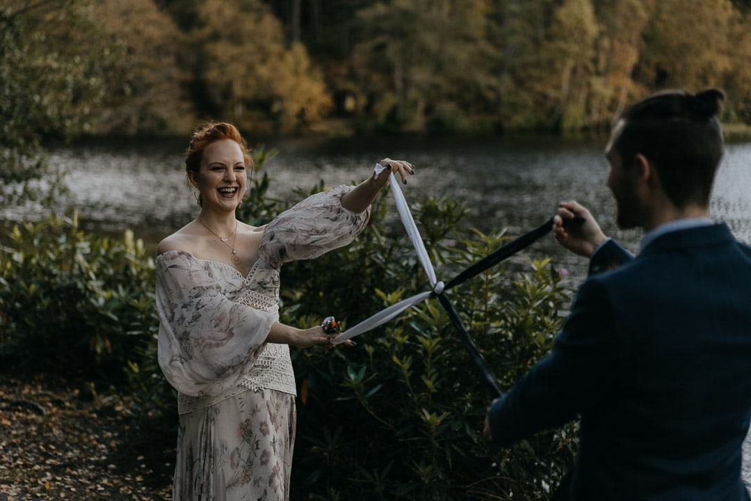 Glencoe lochan elopement ceremony - handfasting
