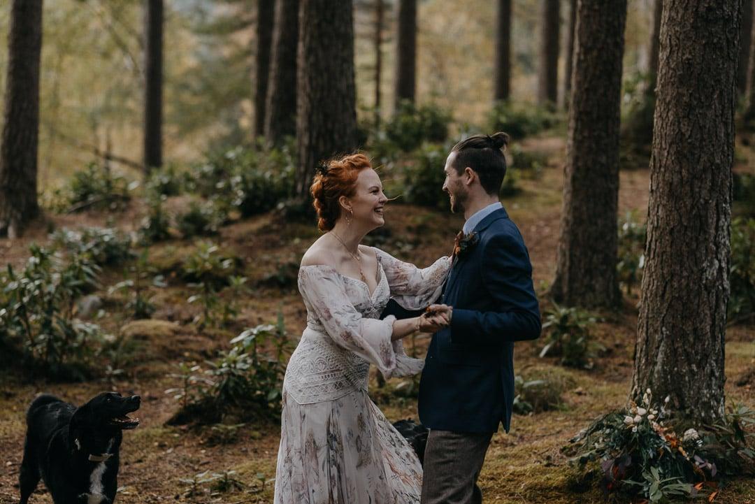 Glencoe elopement forest couple first dance